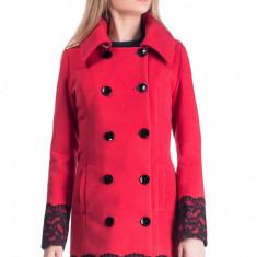 Palton din Stofa Cezarina - Rosu - Palton dama Raspberry, Marime: 50, 48, 46, 44