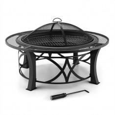 Blumfeldt Ronda, Ø95cm, vatră de oțel cu gril, protecție împotriva flăcărilor, lustruit - Gratar Gradina