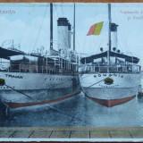 Constanta ; Vapoarele Imparatul Traian si Romania in port , interbelica, Necirculata, Printata