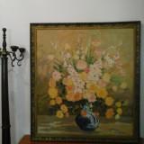 Tablou IMENS pe pânză- flori - scoala Baia Mare semnat Lucretia Megyesi - Pictor roman, An: 1986, Ulei, Realism