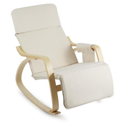 ONECONCEPT Beutlin, scaun balansoar 68X90X97 CM (LxÎxA), mesteacăn, lemn, bej foto