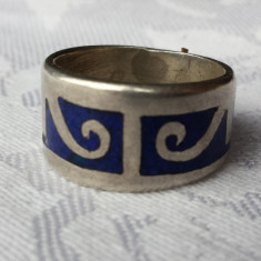 Inel argint Sterling cu email albastru in model egiptean Executat manual Finut