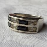 Inel argint Finut Elegant executat manual Contrast superb alb si negru