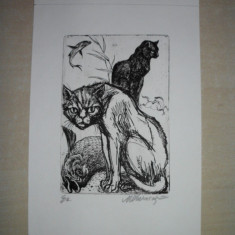 GRAVURA MARCEL CHIRNOAGA, 1 - Pictor roman, Abstract, Cerneala