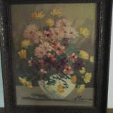 Tablou ulei pe pânză- flori - scoala Baia Mare semnat Lucretia Megyesi - Pictor roman, An: 1986, Realism
