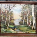 Tablou vechi Peisaj romantic pictura in ulei inramata 49x59 cm - Pictor roman, Peisaje, Realism