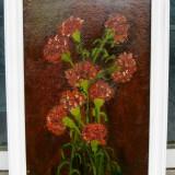 Buchet de garoafe tablou 1978 pictat in ulei pe mucava natura statica 39x55 cm - Pictor roman, Realism