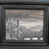 Tablou Peisaj nocturn medieval pictura in ulei semnata inramata 29x34 cm - Pictor roman, Peisaje, Realism