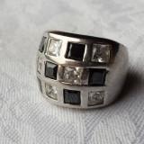 Inel argint cu pietre semipretioase Splendid Contrast Elegant alb si negru