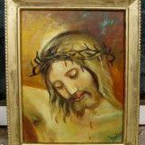 Tablou Chipul Domnului Isus pictura in ulei semnata inramata 30x37 cm - Pictor roman, Peisaje, Realism