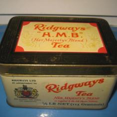 Cutie Ceai veche metal RIDGWAYS England anii 1900-1930. Stare buna in patina