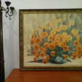 Tablou mare, flori, ulei pe pânză - scoala Baia Mare semnat Lucretia Megyesi - Pictor roman, An: 1986, Realism