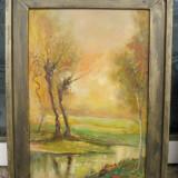 Tablou Peisaj Apus de soare pictura in ulei semnata inramata 32x42 cm - Pictor roman, Peisaje, Realism