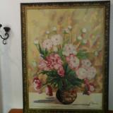 Tablou mare, ulei pe pânză- flori - scoala Baia Mare semnat Lucretia Megyesi - Pictor roman, An: 1986, Realism