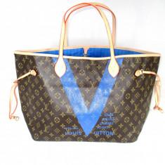 Geanta dama mare LV Louis Vuitton Neverfull cu albastru+CADOU, Culoare: Din imagine, Asemanator piele