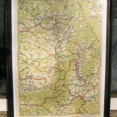 Harta litografiata 1928 Brasov Fagaras Sf Gheorghe pe hartie inramata