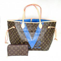 Set dama geanta si portofel LV Louis Vuitton Neverfull Editie limitata+CADOU - Geanta Dama Louis Vuitton, Culoare: Din imagine, Marime: Mare, Geanta de umar, Asemanator piele