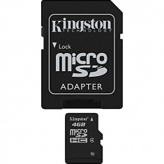 Card de memorie Kingston MicroSDHC, 4GB, Class 4 + Adaptor NOU / NEFOLOSIT ! - Card memorie