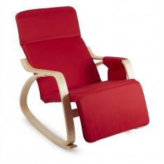 ONECONCEPT Beutlin, scaun balansoar 68X90X97 CM (LxÎxA), mesteacăn, lemn, roșu