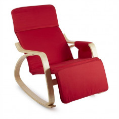 ONECONCEPT Beutlin, scaun balansoar 68X90X97 CM (LxÎxA), mesteacăn, lemn, roșu - Scaun living