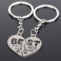 Breloc BFF Best Friends - In Forma De Inima Pentru Cuplu Sau Prieteni - Breloc Barbati