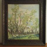Tablou ulei pe pânză- peisaj- scoala Baia Mare semnat Lucretia Megyesi - Pictor roman, An: 1986, Peisaje, Realism