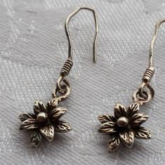 Cercei argint Flori de Camp finuti Eleganti de Efect executati manual Superbi - Bijuterie veche