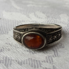 Inel argint 835 cu Chihlimbar Vechi 1900 Finut Splendid  executat manual Vintage