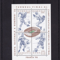 ROMANIA 1998, LP 1455, CAMPIONATUL MONDIAL DE FOTBAL FRANTA BLOC MNH - Timbre Romania, Nestampilat