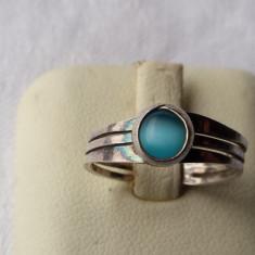 Inel argint superb cu piatra albastra sidefata executat manual Finut Elegant
