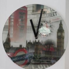 Ceas cuart de perete, englezesc, din sticla - London - Ceas de perete
