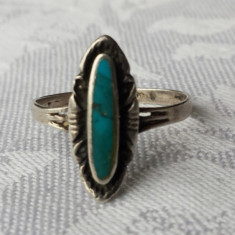 Inel argint cu Turcoaz marcaj vechi Finut Superb Elegant de Efect Vintage