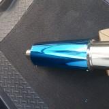 Toba sport inox rotunda si tesita de culoare albastra cu silencer, Universal