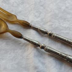 Lingura si Furculita ARGINT Salata Platou marcaj DIANA Austro Ungaria 1872-1922, Tacamuri