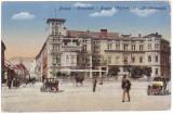 #1776- Ro, Brasso, Brasov, c.p. cenz. 1918: Scena strada, automob. epoca, anim., Circulata, Fotografie