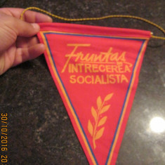 Fanion-tematica Comunista-Fruntas in Intrecerea Socialista, stare perfecta - Fanion fotbal