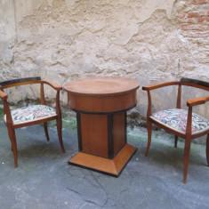 Masa si fotolii vechi Art Deco mobilier antic