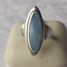Inel argint cu sidef albastrui Oval lunguiet Finut Elegant Splendid de Efect