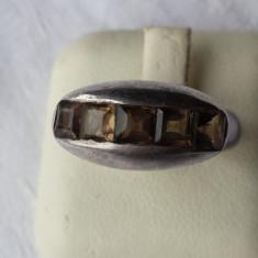 Inel argint marcaj Vechi cu 5 pietre semipretioase Impunator de Efect Vintage