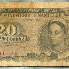 A1234 BANCNOTA-ROMANIA(RPR)-20 LEI- 1950 -SERIA0113384 -starea care se vede - Bancnota romaneasca