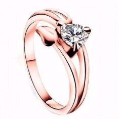 Inel placat filat aur roz 14k tip PANDORA GOLD ROSE piatra zirconiu inima m. 7 - Inel placate cu aur