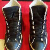 Converse All Star originali, high top, piele naturala, imblaniti, nr.36, 5. - Tenisi dama Converse, Culoare: Negru, Piele intoarsa