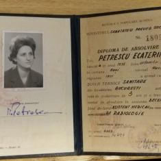 BDA S1 - DIPLOMA ABSOLVIRE - SCOALA TEHNICA SANITARA - 1963 - PIESA DE COLECTIE - Diploma/Certificat