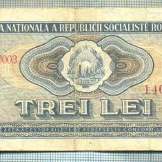 A1242 BANCNOTA-ROMANIA(RSR)- 3 LEI- 1966 -SERIA146892 -starea care se vede