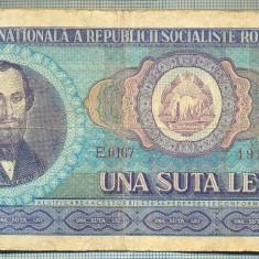 A1267 BANCNOTA-ROMANIA(RSR)- 100 LEI- 1966 -SERIA493147 -starea care se vede - Bancnota romaneasca
