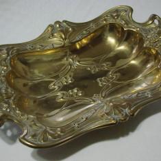 Tava din alama belgiana din perioada de sfarsit de secol 19 Art Nouveau - Argint