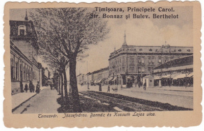 #1788- Ro,Timisoara, c.p. necirc.1919: Str. Bonnaz-Berthelot, bicicleta, anim. foto