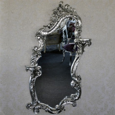 DCO23 - Oglinda clasica baroc etajera argintie 165cm x 100cm - Oglinda living