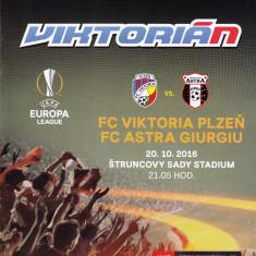 Program meci fotbal VIKTORIA PLZEN - ASTRA GIURGIU 20.10.2016 Europa League