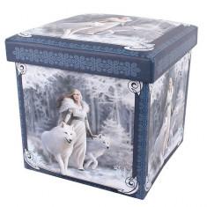 Taburet / cutie depozitare cu lupi Gardienii iernii